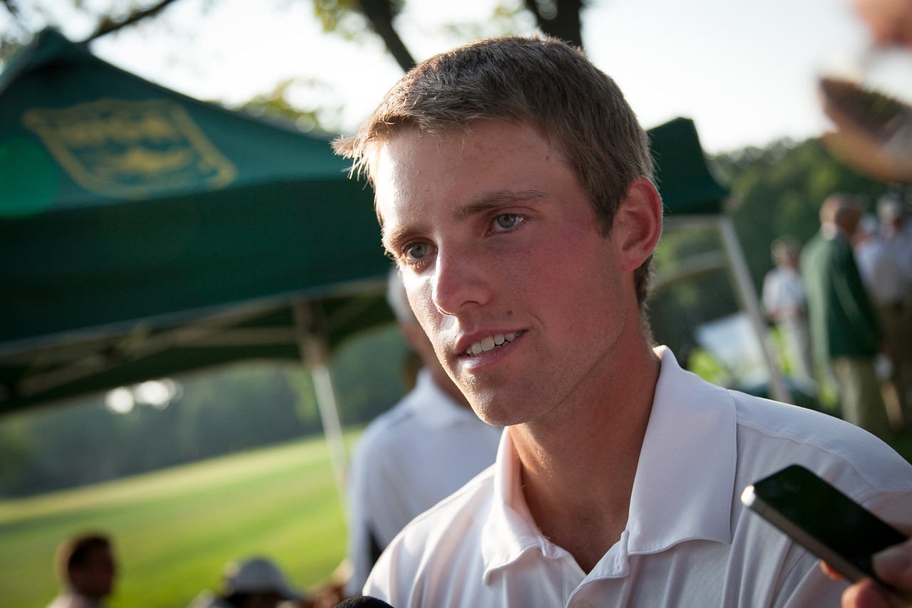 Chris Williams of Moscow ID. being interviewed after winning low medalist honors for the second year in a row with a score of 17 under par 271 during the final round round of medal play at the 2012 Western Amateur Championship at Exmoor Country Club in Highland Park IL. on Thursday, August 2, 2012.  Williams won . (WGA Photo/Charles Cherney)