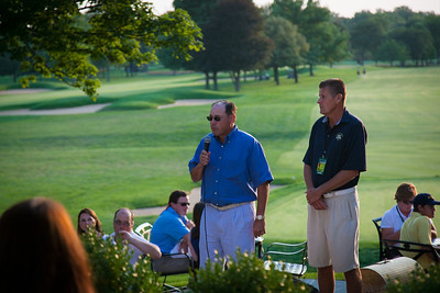 Exmoor President John Vitt welcomes guests after the completion of first round play at the 2012 Western Amateur Championship at Exmoor Country Club in Highland Park IL. on Tuesday, July 31, 2012. (WGA Photo/Charles Cherney)