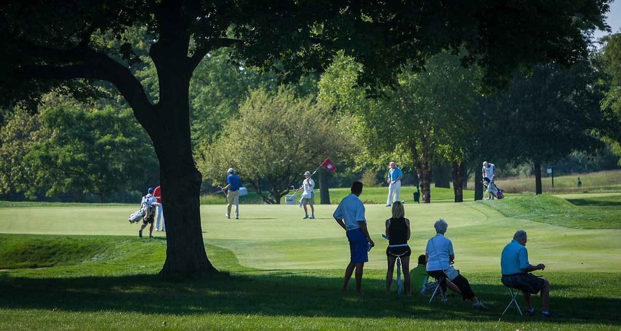 Spectators watch the play on 17 during second round medal play at the 2012 Western Amateur Championship at Exmoor Country Club in Highland Park IL. on Wednesday, August 1, 2012. (WGA Photo/Charles Cherney)