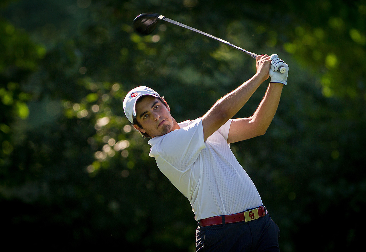 Abraham Ancer of Norman OK tees off on 16 during second round medal play at the 2012 Western Amateur Championship at Exmoor Country Club in Highland Park IL. on Wednesday, August 1, 2012. (WGA Photo/Charles Cherney)