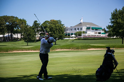 Cheng Tsun Pan of Sammanish WA. hits his approach shot to the 16th green during first round medal play at the 2012 Western Amateur Championship at Exmoor Country Club in Highland Park IL. on Tuesday, July 31, 2012. (WGA Photo/Charles Cherney)