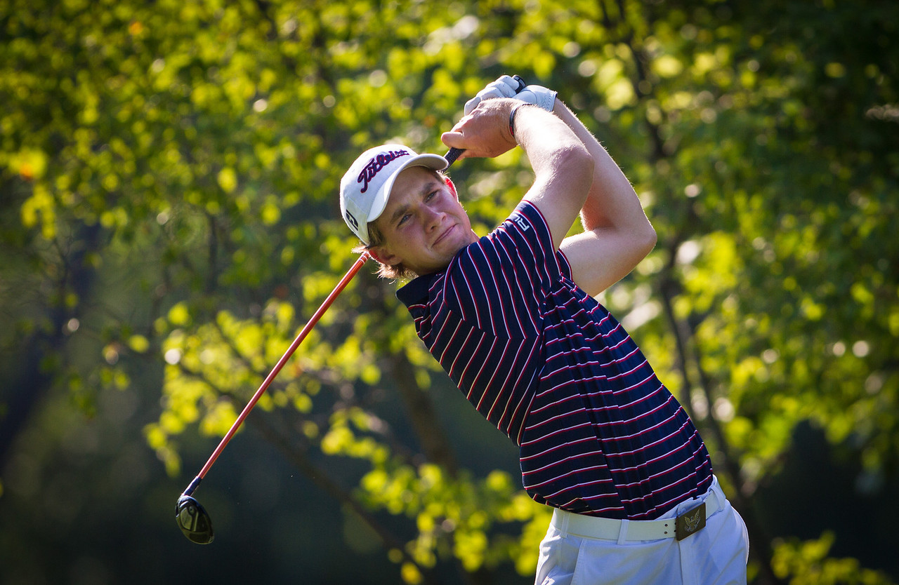 Patrick Rodgers hits his tee shot on 7during second round medal play at the 2012 Western Amateur Championship at Exmoor Country Club in Highland Park IL. on Wednesday, August 1, 2012. (WGA Photo/Charles Cherney)