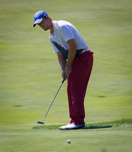 Co-leader Alex Moon of Dallas Texas putts on 18 to finish his round at -4, during first round medal play at the 2012 Western Amateur Championship at Exmoor Country Club in Highland Park IL. on Tuesday, July 31, 2012. (WGA Photo/Charles Cherney)