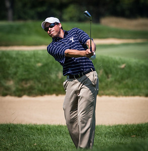 Andrew Vitt hits his approach shot on 16 during the second round medal play at the 2012 Western Amateur Championship at Exmoor Country Club in Highland Park IL. on Wednesday, August 1, 2012. (WGA Photo/Charles Cherney)