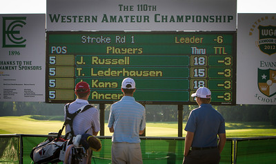 Scoreboard watchers during first round medal play at the 2012 Western Amateur Championship at Exmoor Country Club in Highland Park IL. on Tuesday, July 31, 2012. (WGA Photo/Charles Cherney)