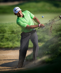 Bhavik Patel plays a bunker shot from off the 6th green during first round medal play at the 2012 Western Amateur Championship at Exmoor Country Club in Highland Park IL. on Tuesday, July 31, 2012. (WGA Photo/Charles Cherney)