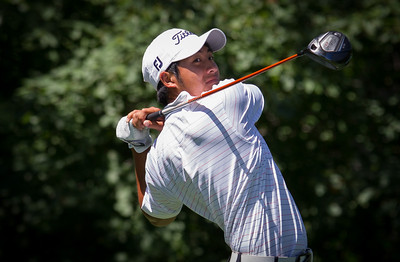 Cheng Tsun Pan of Sammanish WA.. hits his tee ball on the 16th hole during first round medal play at the 2012 Western Amateur Championship at Exmoor Country Club in Highland Park IL. on Tuesday, July 31, 2012. (WGA Photo/Charles Cherney)