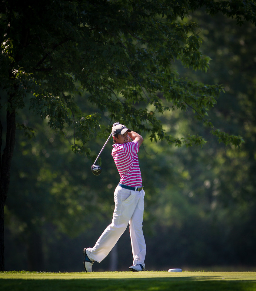 Jack Watson of Lincolnshire IL tees off on 16 during second round medal play at the 2012 Western Amateur Championship at Exmoor Country Club in Highland Park IL. on Wednesday, August 1, 2012. (WGA Photo/Charles Cherney)