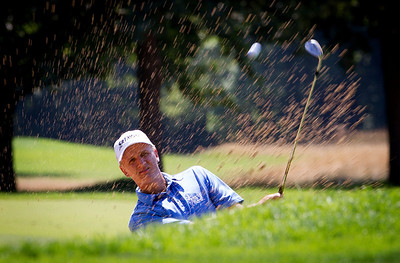 Frasor Wilkin of New Zealand hits out of the bunker by the 6th green during first round medal play at the 2012 Western Amateur Championship at Exmoor Country Club in Highland Park IL. on Tuesday, July 31, 2012. (WGA Photo/Charles Cherney)