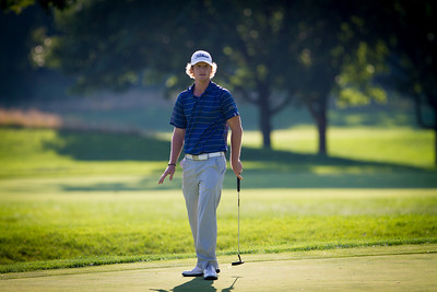Jace Long of Dixon MO. watches his putt on the 15th green. Long shot a 4 under 68 during first round medal play at the 2012 Western Amateur Championship at Exmoor Country Club in Highland Park IL. on Tuesday, July 31, 2012. (WGA Photo/Charles Cherney)