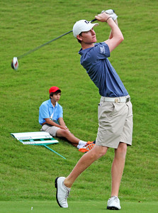 Jordan Niebrugge of Mequon, WI hits his first tee shot during the match play portion of the 111th Western Amateur at The Alotian Club in Roland, AR. (WGA Photo/Ian Yelton)