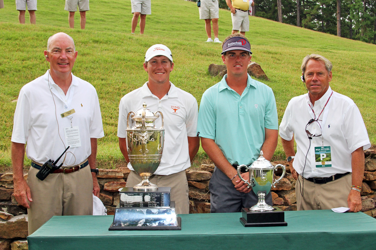 Kramer Hickok, second from left, (4) and Sean Dale (16) before their semifinal match during the 111th Western Amateur at The Alotian Club in Roland, AR. (WGA Photo/Ian Yelton)
