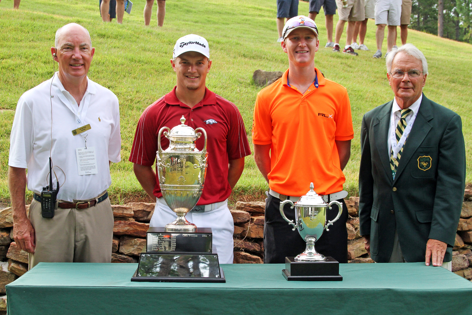 Sebastian Cappelen, second from left, (10) and Jordan Niebrugge (3) before their semifinal match during the 111th Western Amateur at The Alotian Club in Roland, AR. (WGA Photo/Ian Yelton)