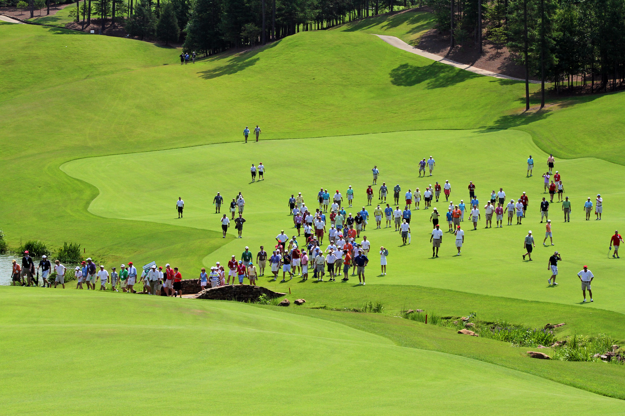 A large crowd came to follow Arkansas Razorback golfer Sebastian Cappelen during the semifinals of the 111th Western Amateur at The Alotian Club in Roland, AR. (WGA Photo/Ian Yelton)