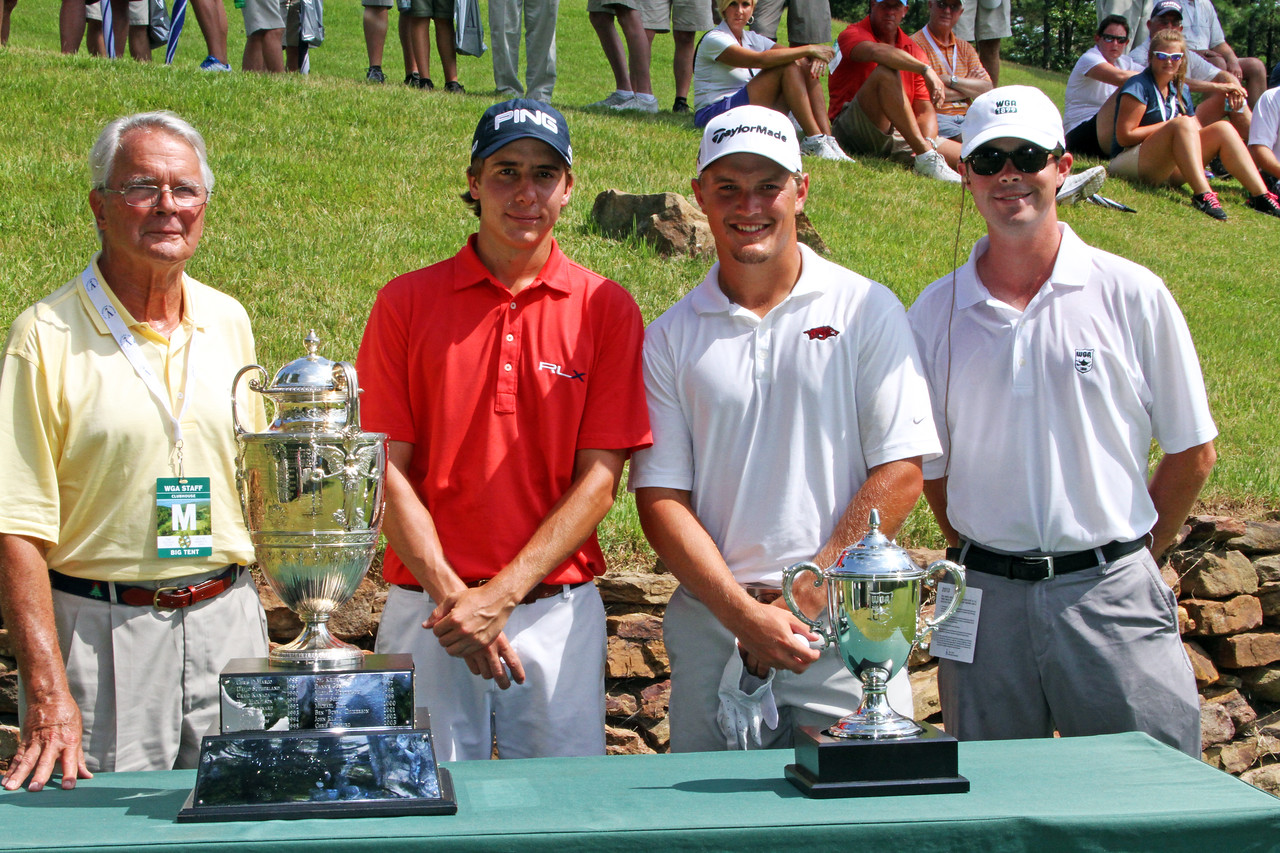 Carlos Ortiz, second from left, (2) and Sebastian Cappelen (10) before their quarterfinal match during the 111th Western Amateur at The Alotian Club in Roland, AR. (WGA Photo/Ian Yelton)