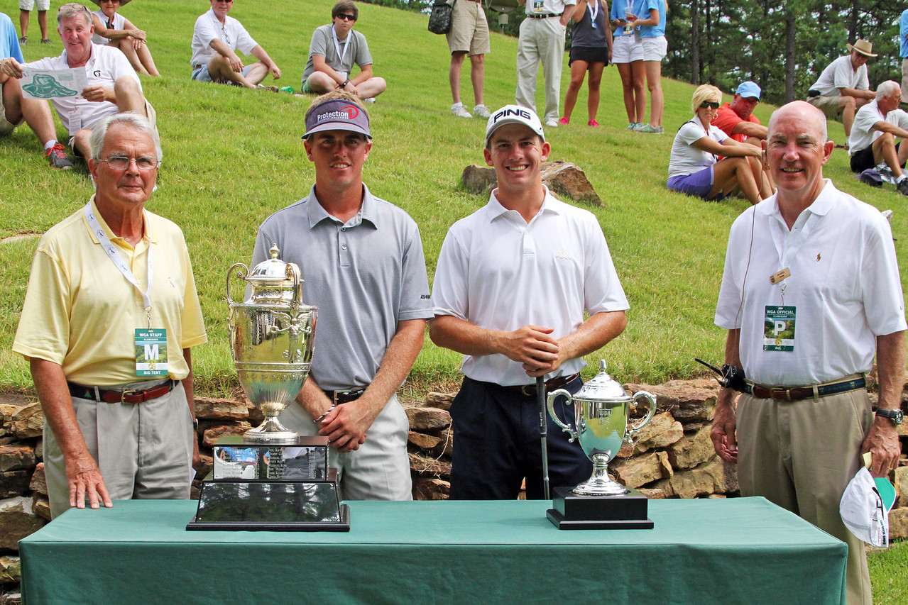 Sean Dale, second from left, (16) and Tyler Dunlap (9) before their quarterfinal match during the 111th Western Amateur at The Alotian Club in Roland, AR. (WGA Photo/Ian Yelton)