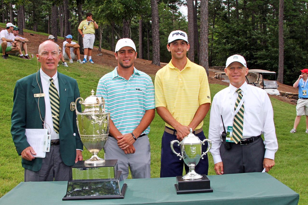 Jonathan Garrick, second from left, (6) and Seth Reeves (11) before their opening match during the 111th Western Amateur at The Alotian Club in Roland, AR. (WGA Photo/Ian Yelton)