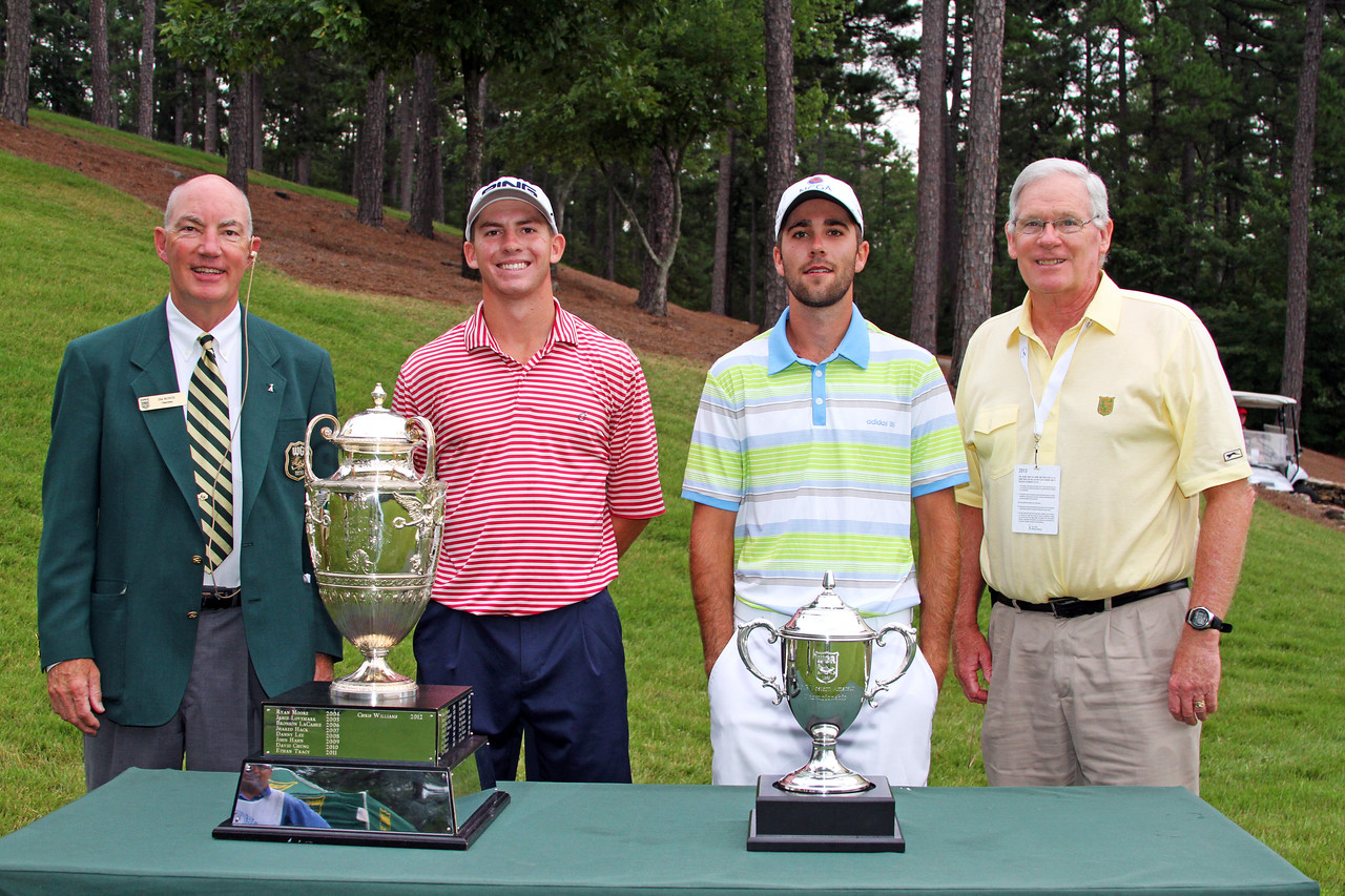 Tyler Dunlap, second from left, (9) and Cory McElyea (8) before their opening match during the 111th Western Amateur at The Alotian Club in Roland, AR. (WGA Photo/Ian Yelton)