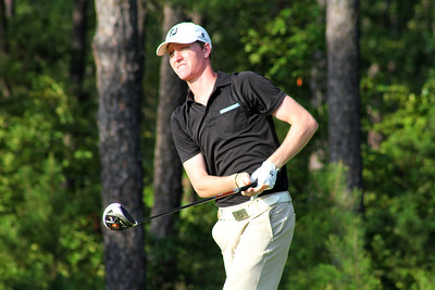 Jordan Niebrugge of Mequon, WI watches a drive travel down the fairway during the quarterfinals of the 111th Western Amateur at The Alotian Club in Roland, AR. (WGA Photo/Ian Yelton)
