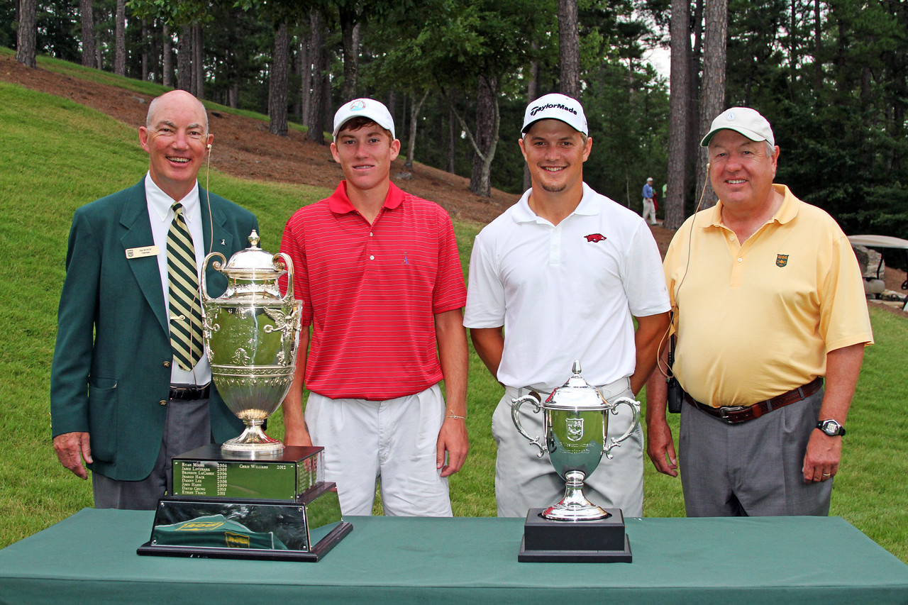 Robby Shelton IV, second from left, (7) and Sebastian Cappelen (10) before their opening match during the 111th Western Amateur at The Alotian Club in Roland, AR. (WGA Photo/Ian Yelton)