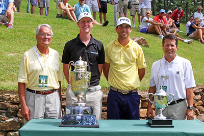 Jordan Niebrugge, second from left, (3) and Seth Reeves (11) before their quarterfinal match during the 111th Western Amateur at The Alotian Club in Roland, AR. (WGA Photo/Ian Yelton)