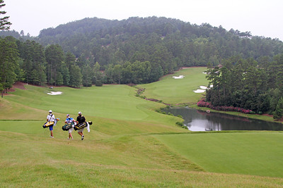 Steven Ihm of Peosta, IA, Geoff Drakeford of Yarram, Australia, and Steven Fox of Hendersonville, TN head towards their respective tee shots on the 14th hole during the first round of the 2013 Western Amateur at The Alotian Club in Roland, AR. (WGA Photo/Ian Yelton)