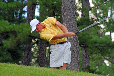 Robby Shelton IV of Wilmer, AL keeps his head down to make solid contact during the second round of the 2013 Western Amateur at The Alotian Club in Roland, AR. (WGA Photo/Ian Yelton)