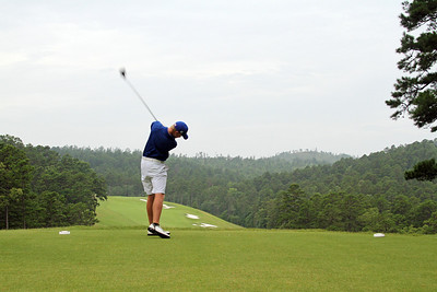 Danny Walker of Bradenton, FL launches the tee shot to kick off the 111th Western Amateur at The Alotian Club in Roland, AR. (WGA Photo/Ian Yelton)