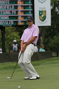 Beau Hossler of Mission Viejo, California reacts to a missed putt during the first round of the 2014 Western Amateur.