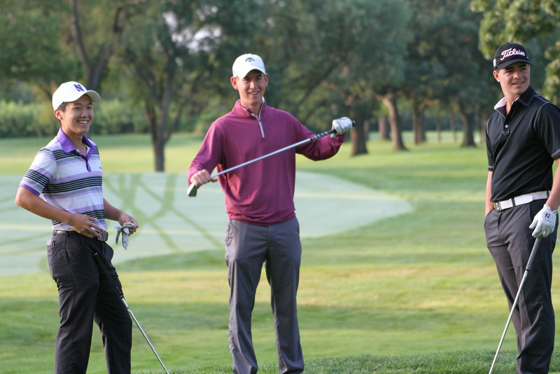 Matthew Negri, Raymond Knoll and Joshua Seiple wait to tee off during the first round of the 2014 Western Amateur Championship.