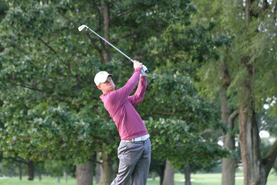 Raymond Knoll of Naperville, Illinois tees off during the first round of the 2014 Western Amateur.