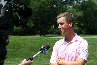 Raymond Knoll is interviewed by ABC-7 Chicago following his round at the 2014 Western Amateur.