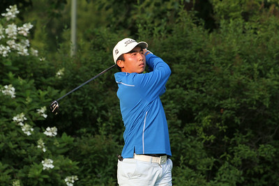 Doug Ghim of Arlington Heights, Illinois tees off during the second round of the 2014 Western Amateur.