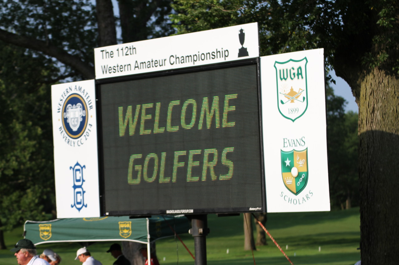 A scoreboard welcomes players to The Beverly Country Club in Chicago.