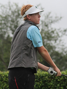Dru Love, son of Davis Love III looks intently at this shot in the second round.