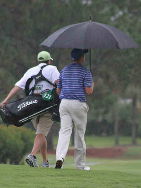 Umbrellas were a necessity in Wednesday's morning round of the 2012 Western Junior.