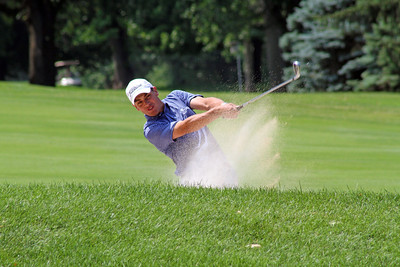 Will Seger of Jasper, Indiana blasted this 175 yard bunker shot to within a foot on the 18th hole to finish with a birdie during the second round of the 96th Western Junior. (WGA Photo/Ian Yelton)