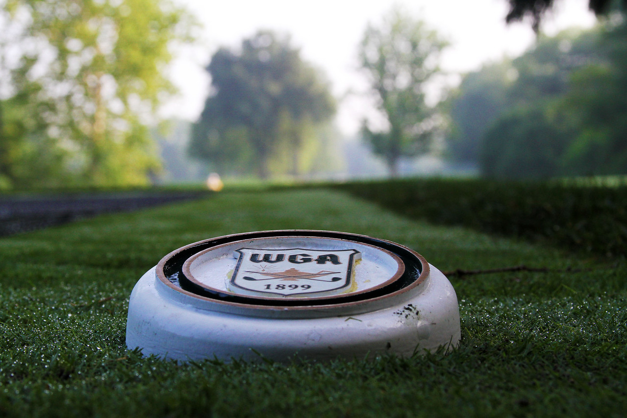 Morning dew covered the teeing grounds at Meridian Hills Country Club Monday, June 17 prior to the practice round. (WGA Photo/Ian Yelton)