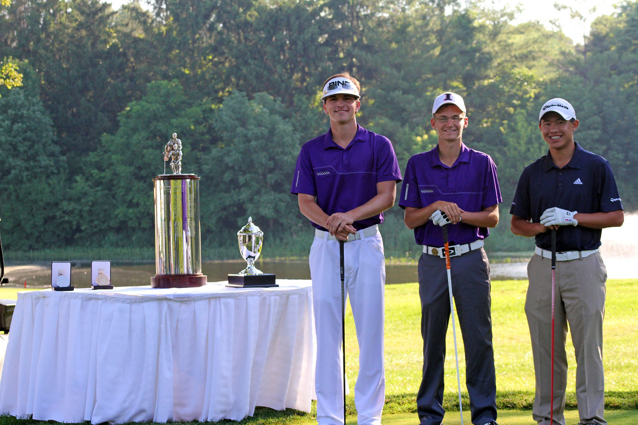 From left, Will Gordon of Davidson, N.C., Dylan Meyer of Evansville, Ind., and Collin Morikawa of La Canada Flintridge, Calif. all pose on the first tee before the final round of the 96th Western Junior at Meridian Hills Country Club. They all played together in the final pairing.