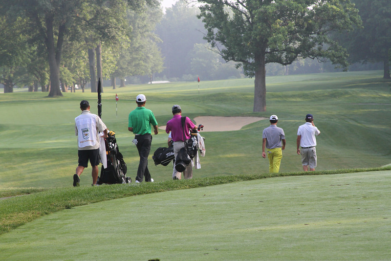 Players head towards the 3rd green early in the morning on Monday, June 17 during the practice round. (WGA Photo/Ian Yelton)