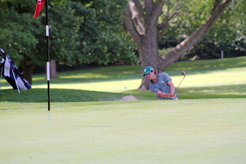 This player has to keep his bunker shot low to leave the ball above the hole during the 96th Western Junior at Meridian Hills Country Club. (WGA Photo/Ian Yelton)