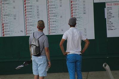 A player and family member survey the leaderboard during the first round of the 2014 Western Junior Championship.