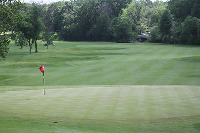 The view looking down the 18th fairway at Flossmoor Country Club.