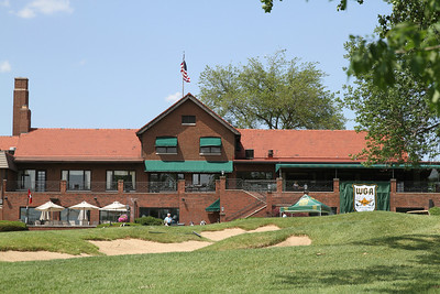 The WGA banner hangs from the back of the clubhouse at historic Flossmoor Country Club.