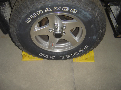 Chock good tire at front and back