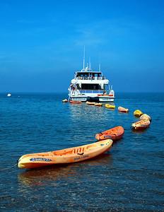 Island Packers and kayak string, Scorpion, Santa CRuz Island. ipr_2923