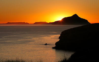 Sunrise rising over Anacapa Island, from the bluffs above Little Scorpion, Santa Cruz island. 1110_5093_3