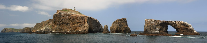 East end of Anacapa Island with Arch Rock and lighthouse
