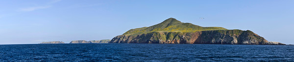 West end of Anacapa Island; West Anacapa in foreground, East Anacapa and Arch Rock in far distance.