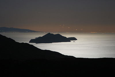 Isthmus - Anacapa Island viewed from isthmus, lit by moonlight